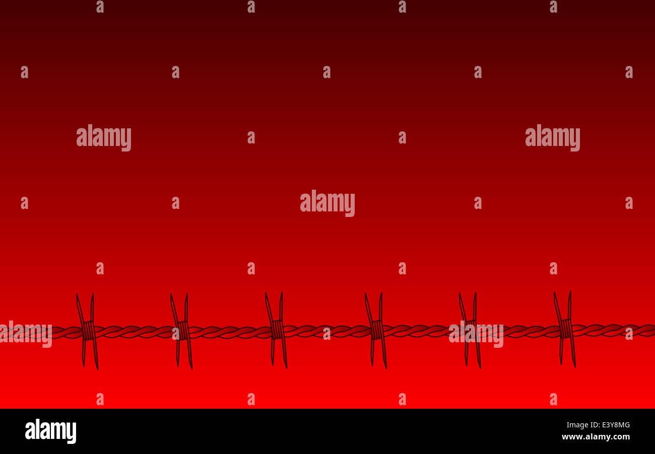 Una sección de alambre de púas rojas sobre un fondo difuminado rojo Foto de stock
