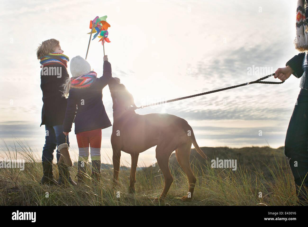 Mediados de un hombre adulto con un hijo, una hija y un perro en la costa Imagen De Stock