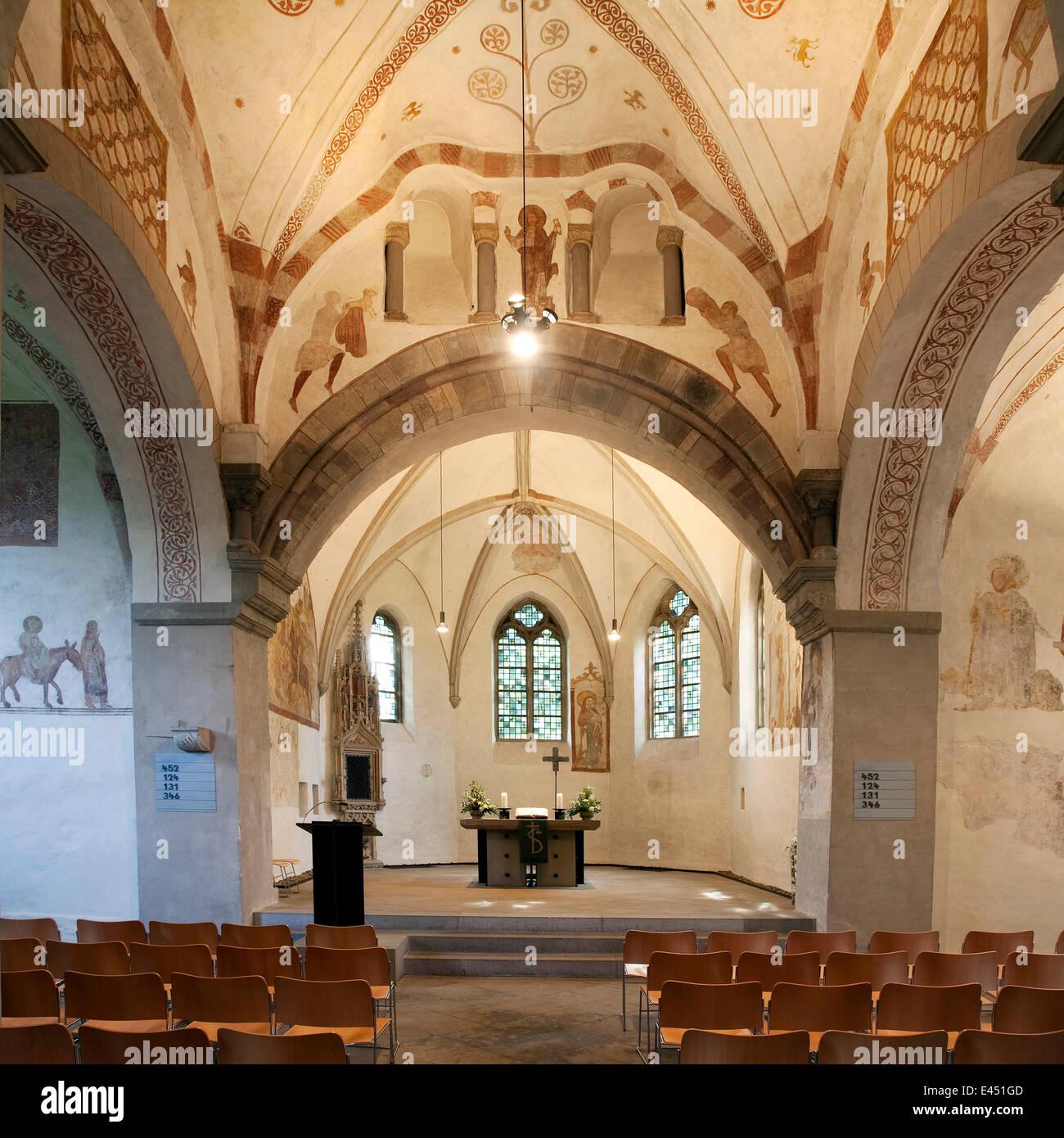 Iglesia del pueblo Stiepel, interior, Bochum, districto de Ruhr, Renania del Norte-Westfalia, Alemania Foto de stock