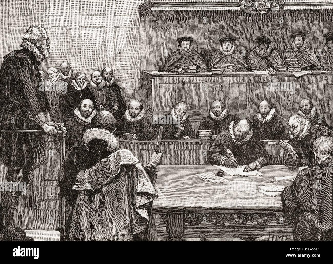 Sir Walter Raleigh ante los jueces en 1618. Foto de stock