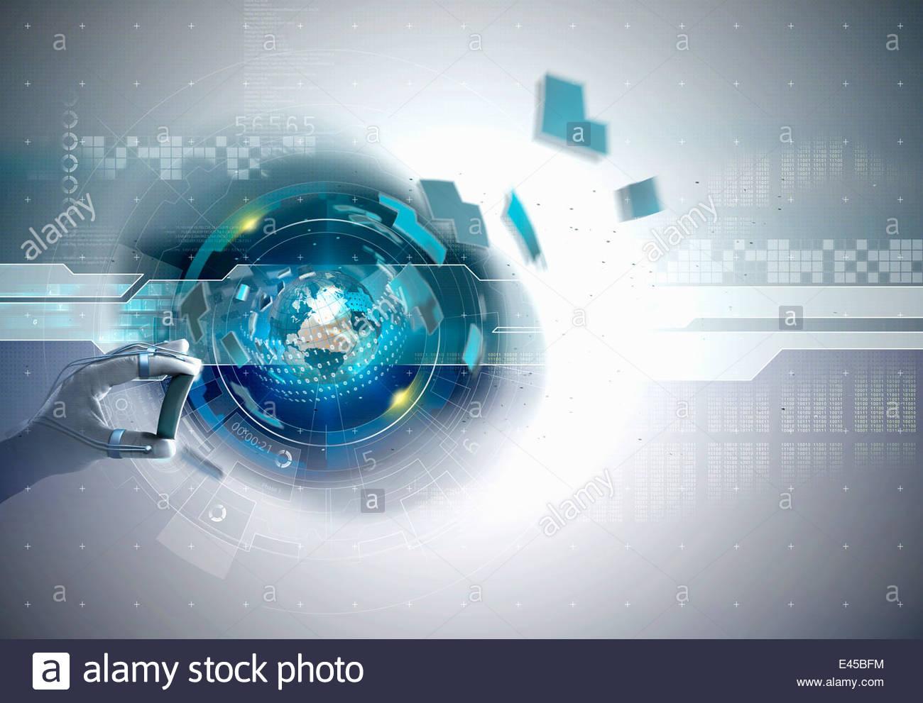 Colocación de la pieza de mano de alta tecnología al ciberespacio globo con código binario Imagen De Stock
