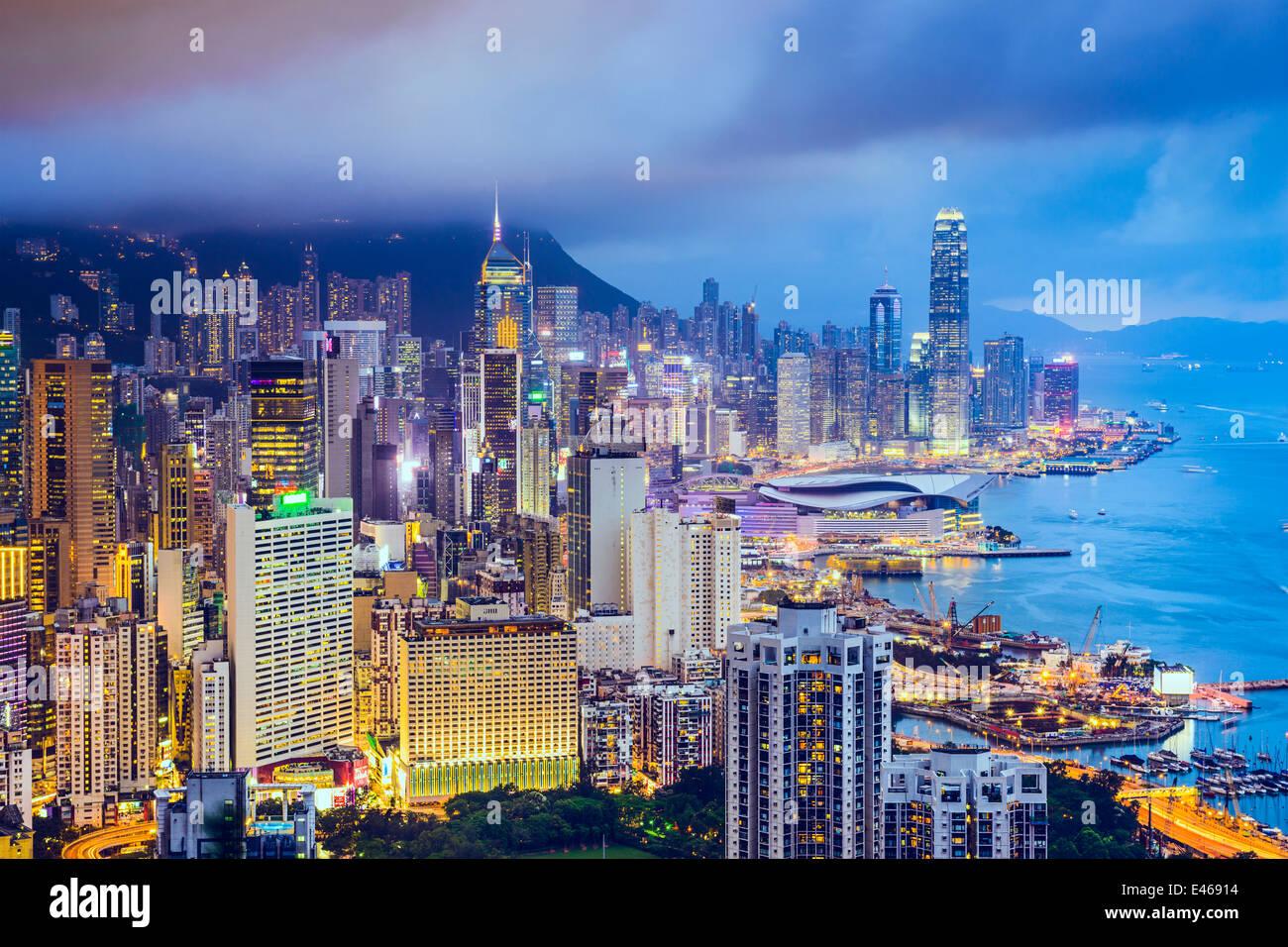 Hong Kong, China el horizonte de la ciudad Imagen De Stock