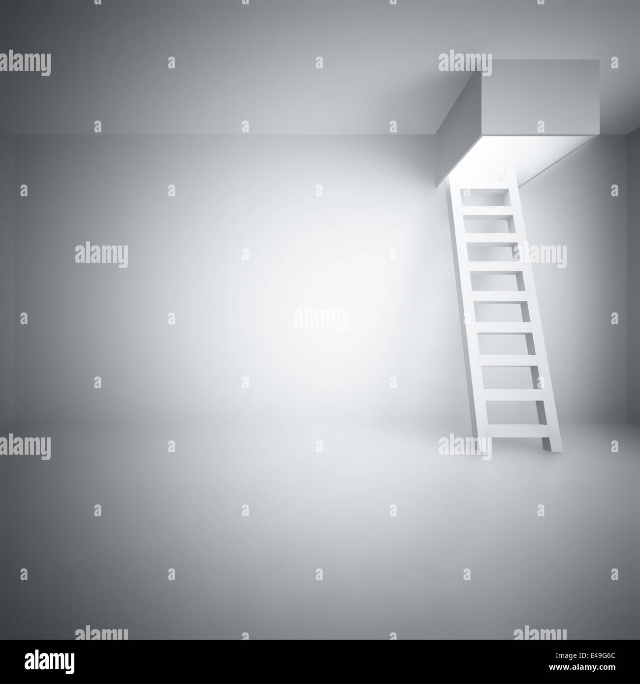 Escalera hacia arriba en una luminosa sala Imagen De Stock