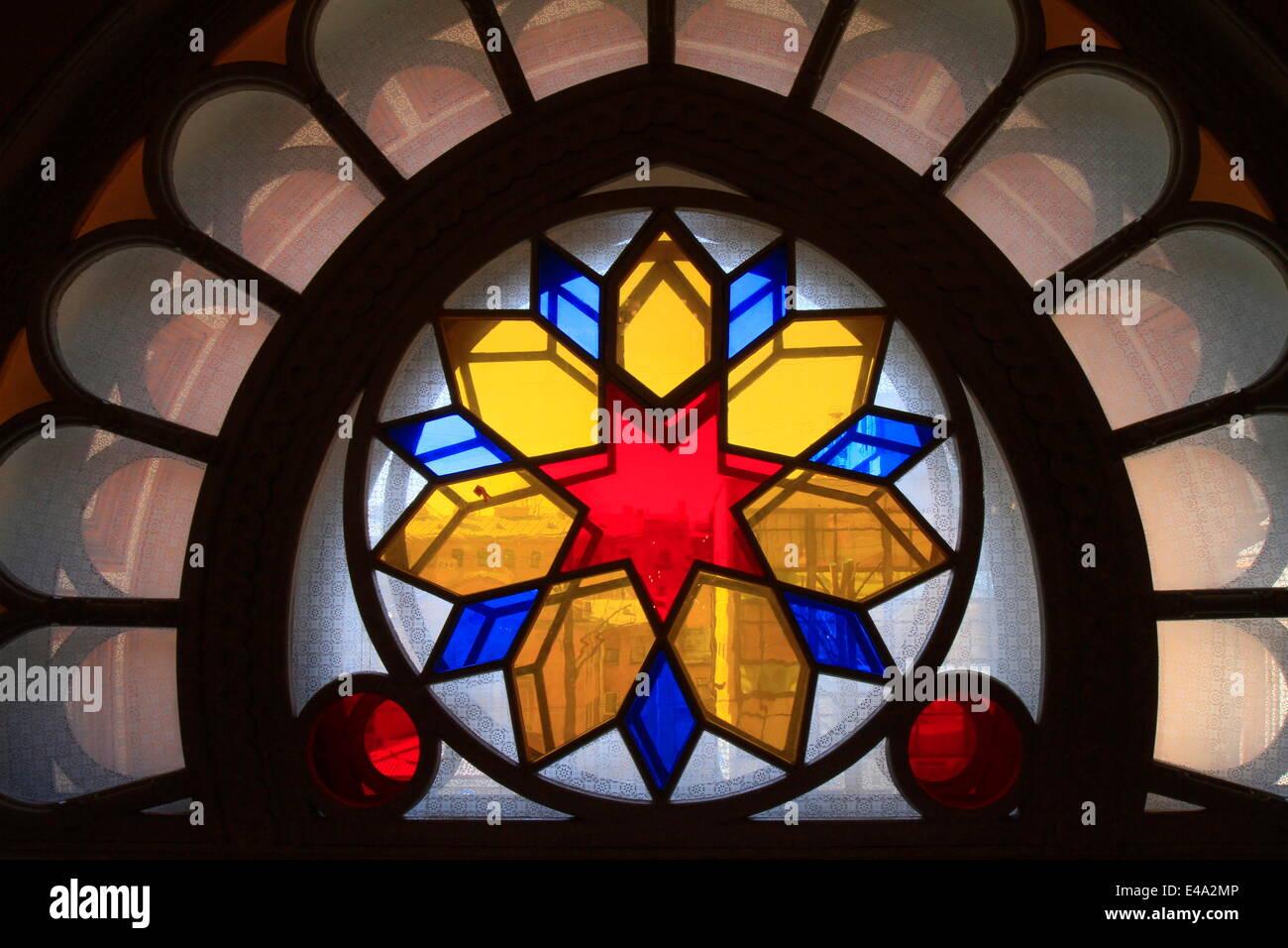 Las vidrieras, Edmond J Safra Gran Sinagoga Coral, San Petersburgo, Rusia, Europa Imagen De Stock