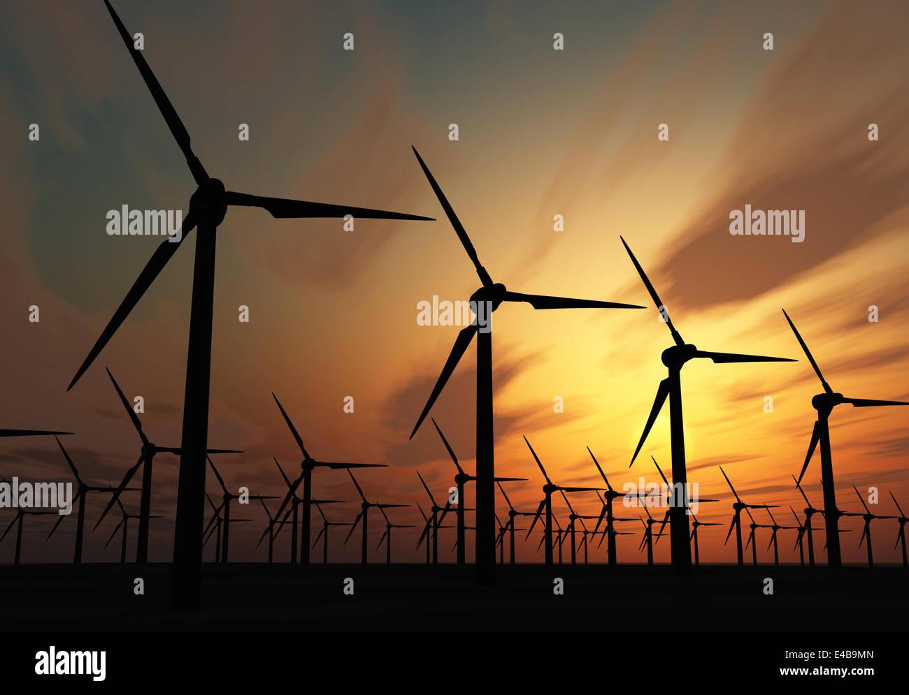 Las centrales eólicas Imagen De Stock
