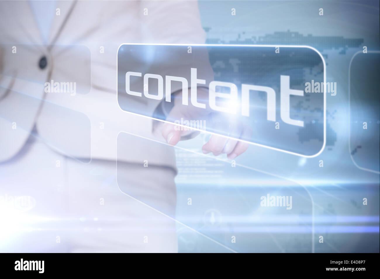 La empresaria apuntando a Word contenido Imagen De Stock