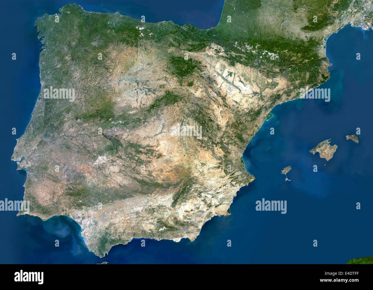 Espana Imagen De Satelite De Color Verdadero Espana Imagen De