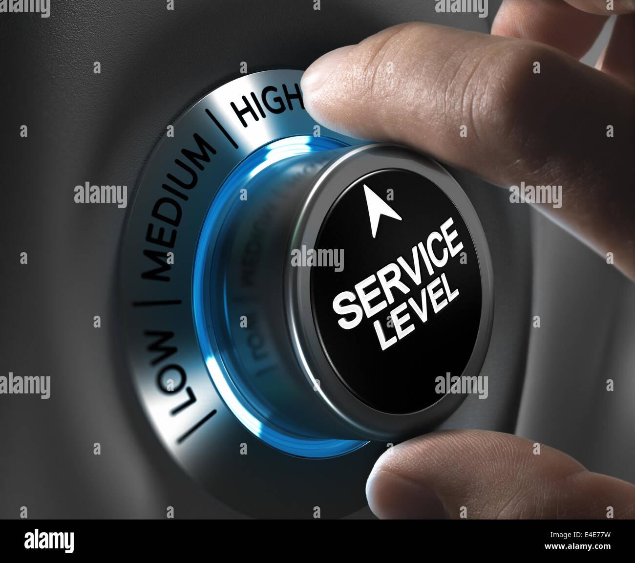 Nivel de servicio de botón apuntando la posición alta con efecto de desenfoque más tonos azules y grises. imagen Foto de stock
