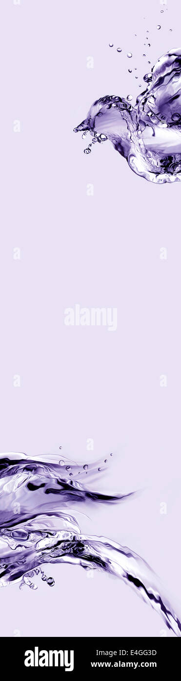 Un resumen de violeta vertical hecho de agua aves volando. Imagen De Stock