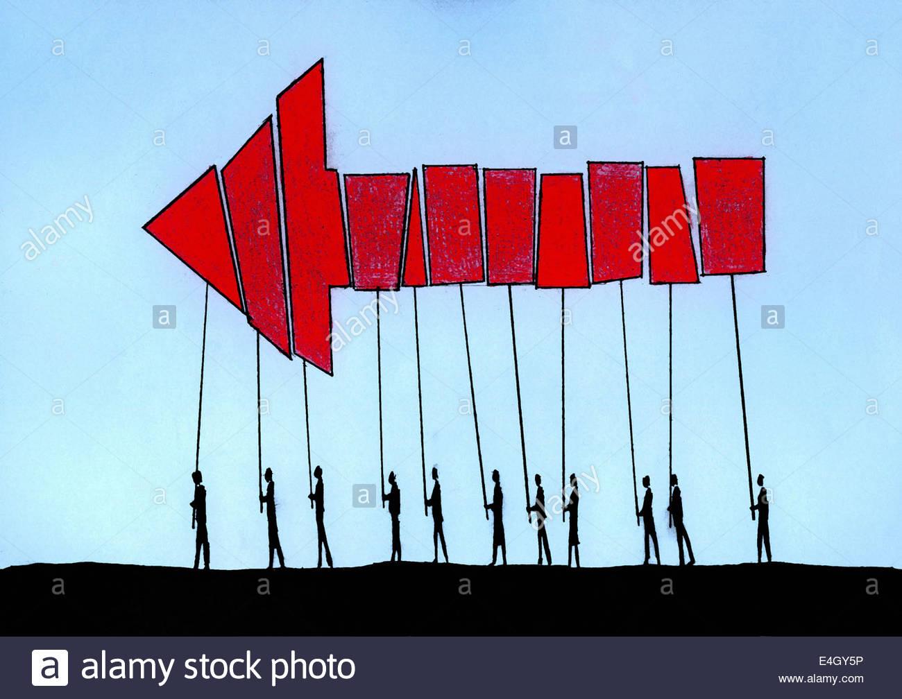 Flecha roja formada a partir de piezas por personas cooperando y trabajando juntos Imagen De Stock