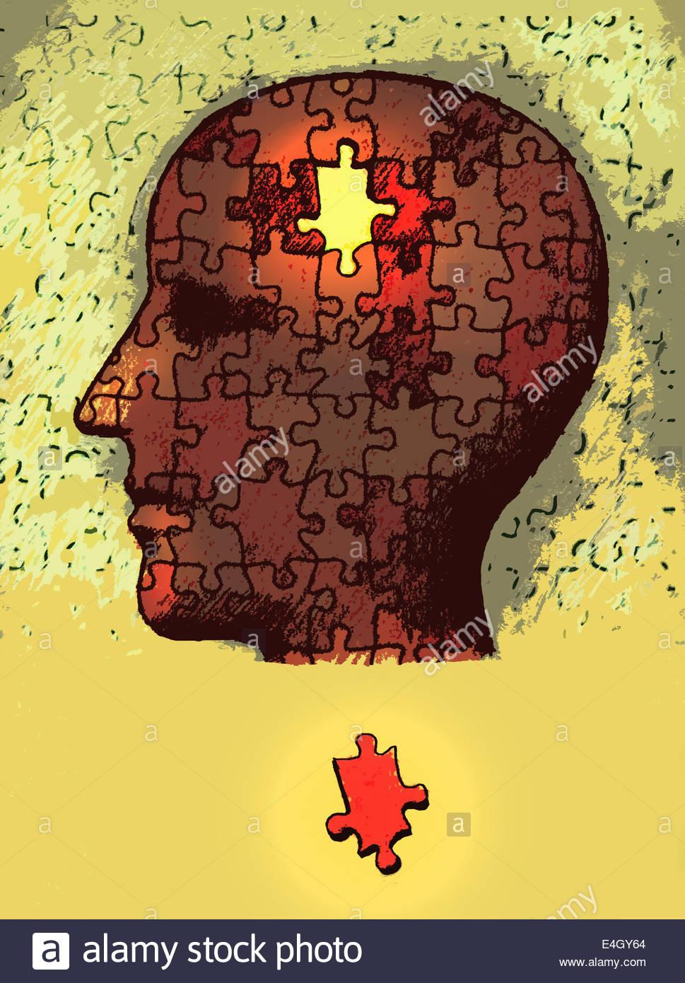 Pieza del rompecabezas que faltan la cabeza fuera del hombre Imagen De Stock
