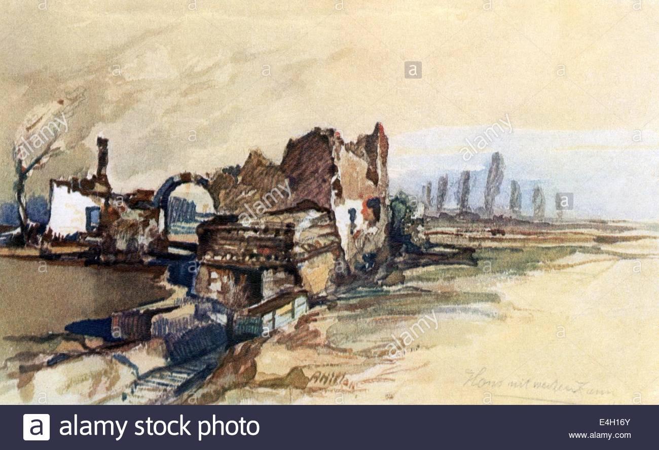 Primera Guerra Mundial / WWI, frente Occidental, Francia, ruina, casa con cerca blanca, impresión tras la acuarela Imagen De Stock