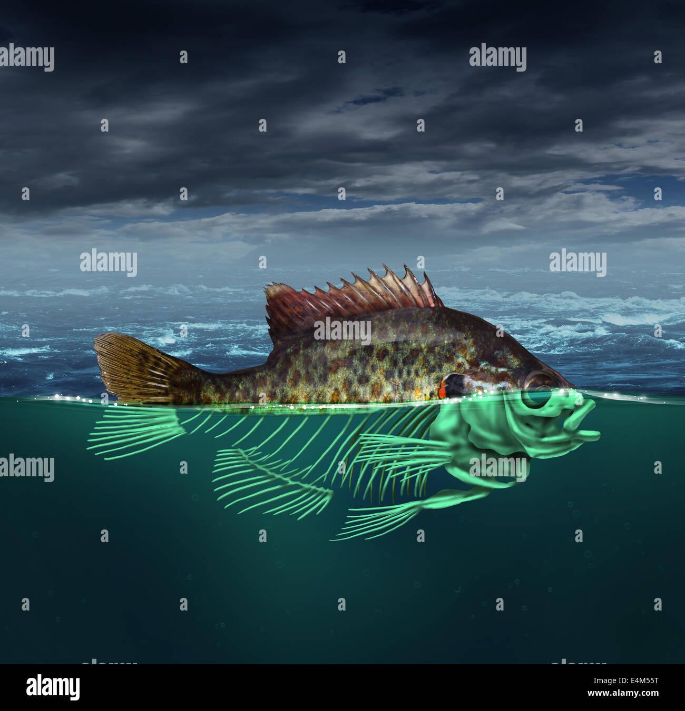 La contaminación del agua contaminada y concepto del océano como un pez con la mitad del cuerpo bajo el Imagen De Stock