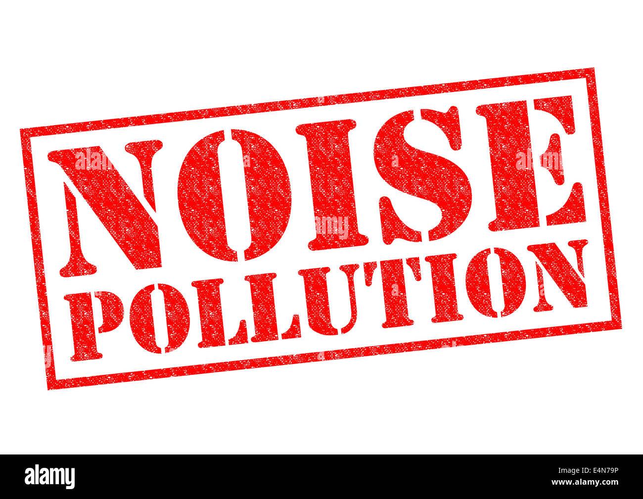 La contaminación acústica de sello de goma roja sobre un fondo blanco. Imagen De Stock