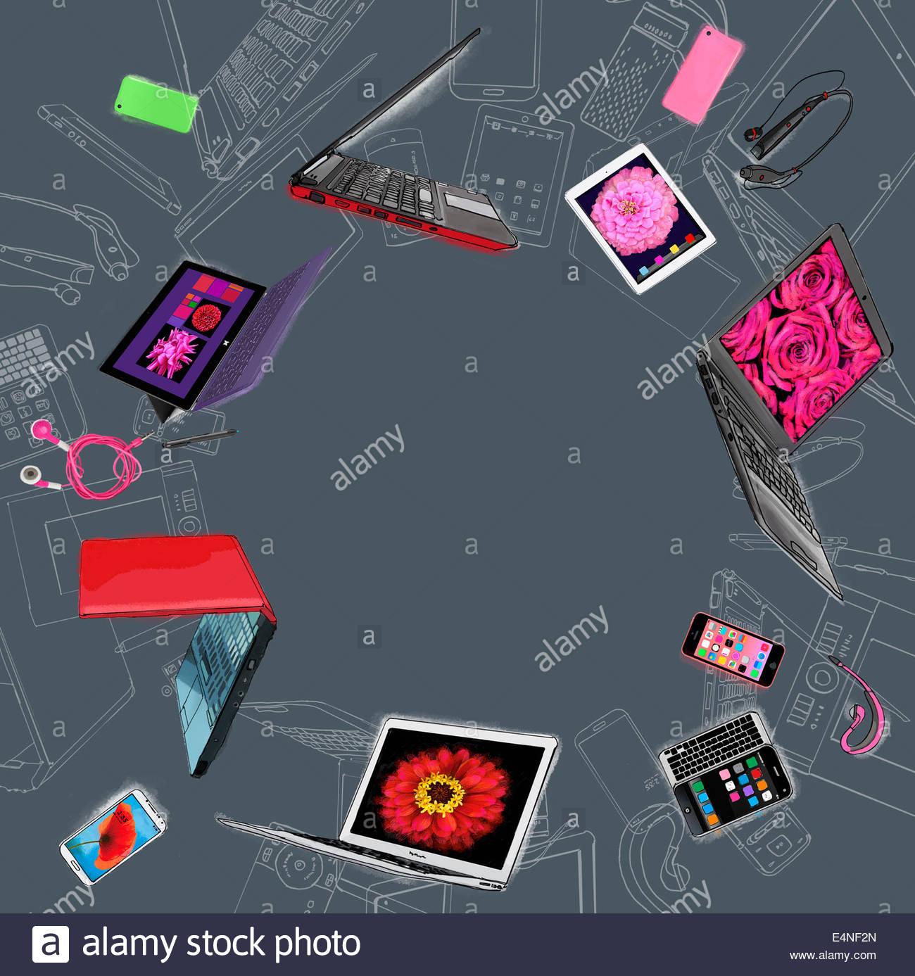 Gama de móvil hi-tech de dispositivos de comunicación y entretenimiento en círculo Imagen De Stock