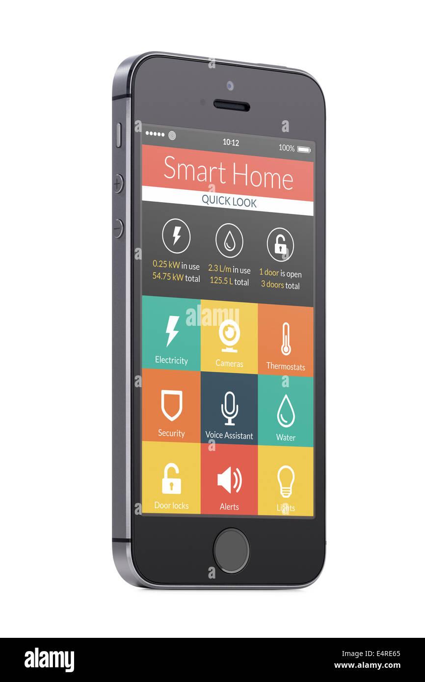 Hogar Inteligente aplicación en la pantalla del smartphone aislado sobre fondo blanco. Para tener acceso a Imagen De Stock