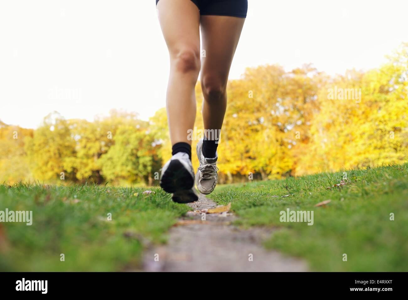 Cerca de los pies de un corredor corriendo en el parque. Mujer formación de fitness. Piernas femeninas trotar Imagen De Stock