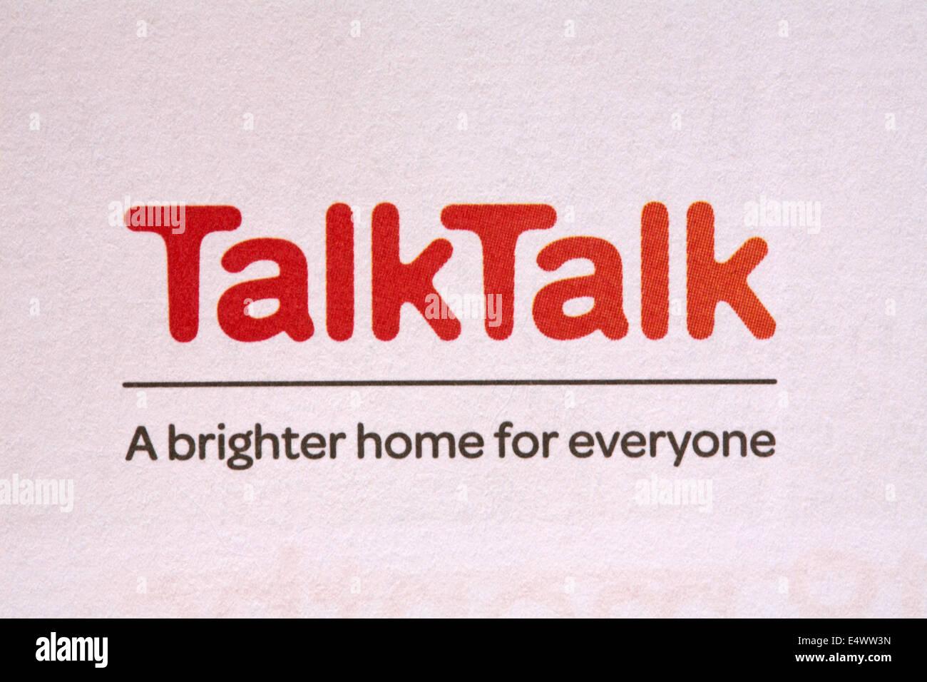TalkTalk un mejor hogar para todos - Logotipo en papel con membrete Foto de stock