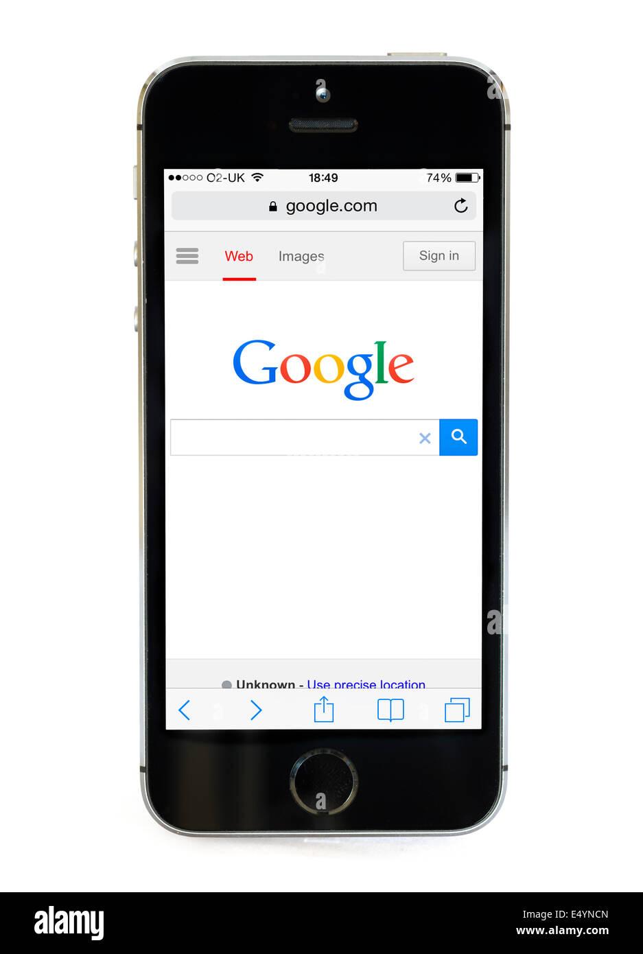 Página de inicio de Google en un Apple iPhone 5S, UK Imagen De Stock