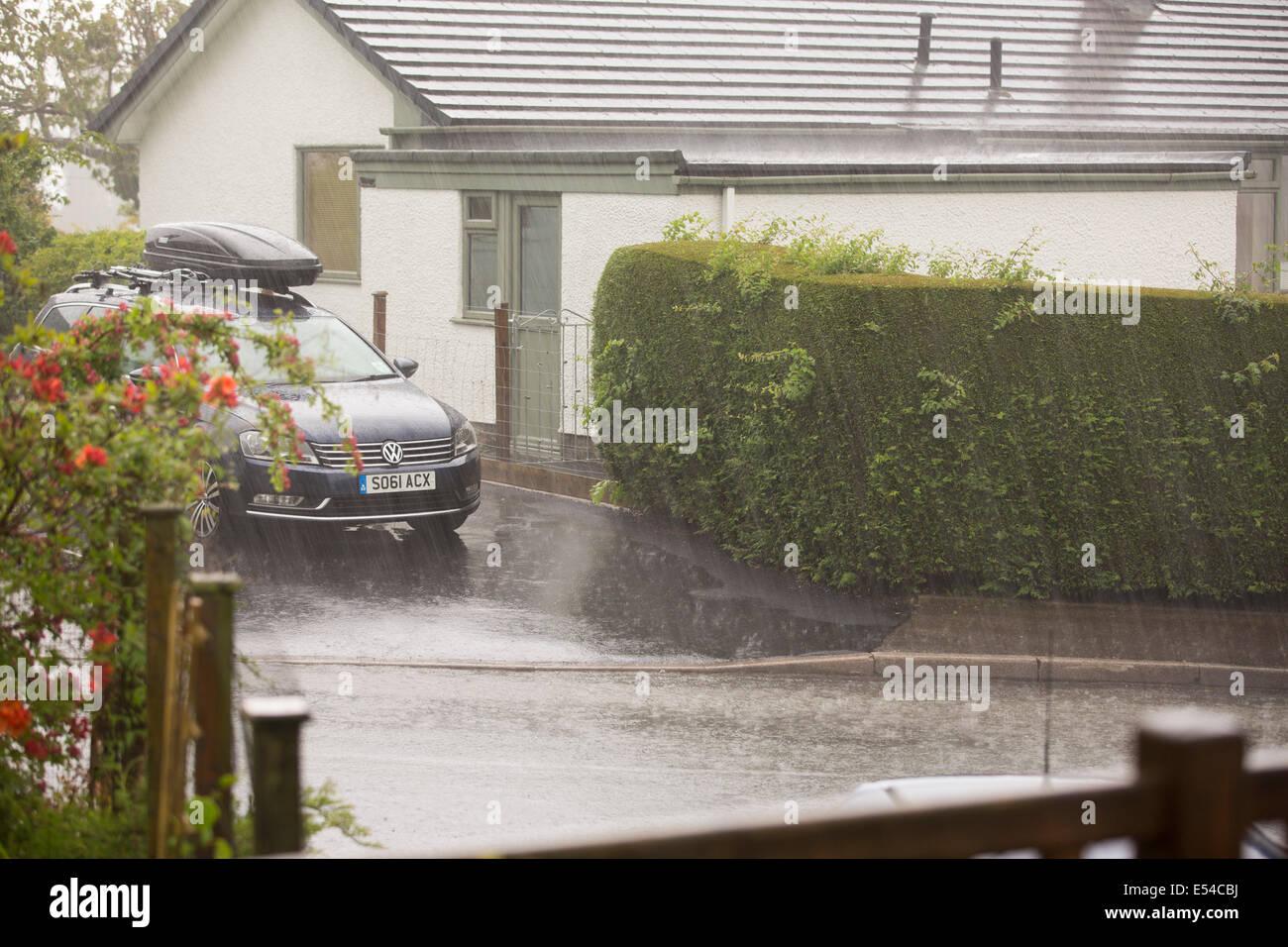 Lluvias torrenciales en Ambleside, Lake District, en el Reino Unido. Imagen De Stock