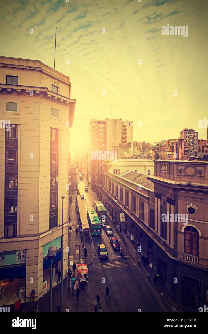 Imagen vintage de Santiago de Chile, el centro de la ciudad. Imagen De Stock