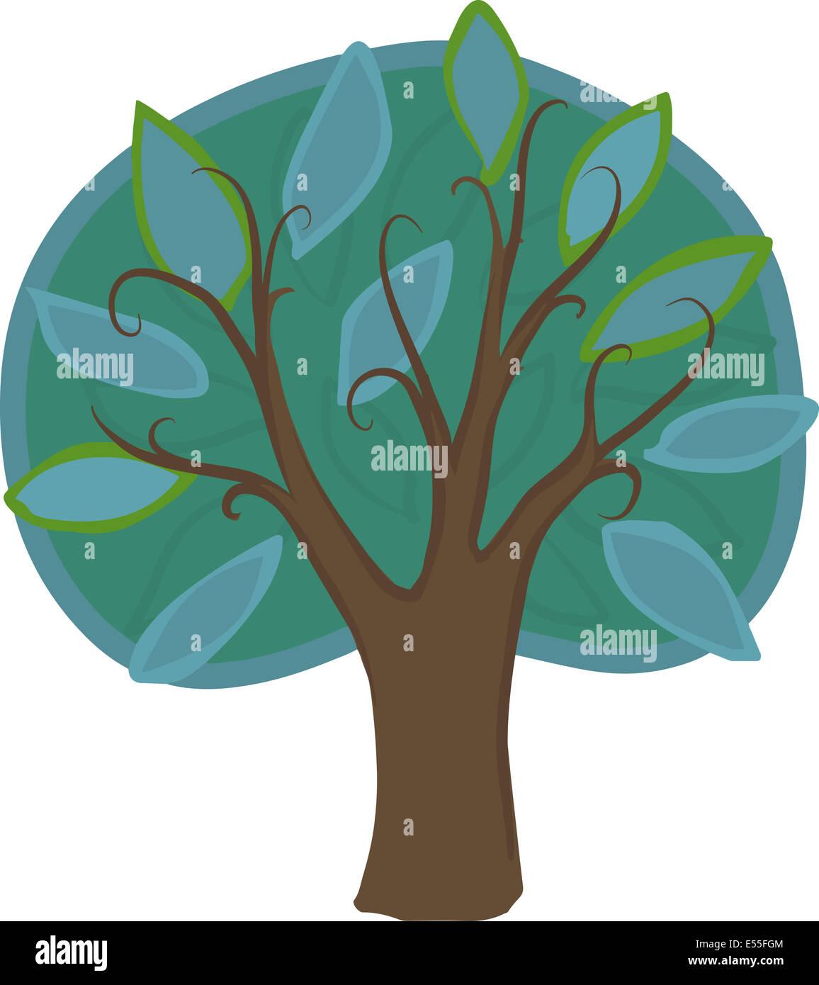 Ilustración de un árbol caducifolio de dibujos animados con luz y color  verde oscuro y hojas de color azul, marrón, tronco y ramas. Aislados  Fotografía de stock - Alamy