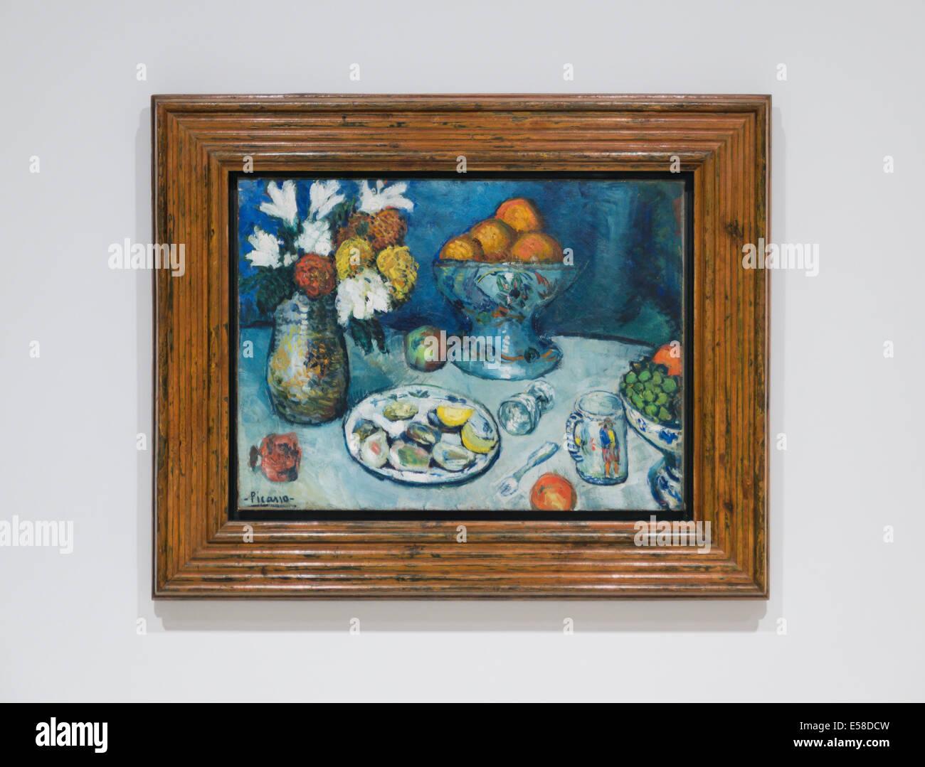 Picasso Bodegón óleo sobre lienzo, en 1901, el Museu Picasso de Barcelona, España. Imagen De Stock
