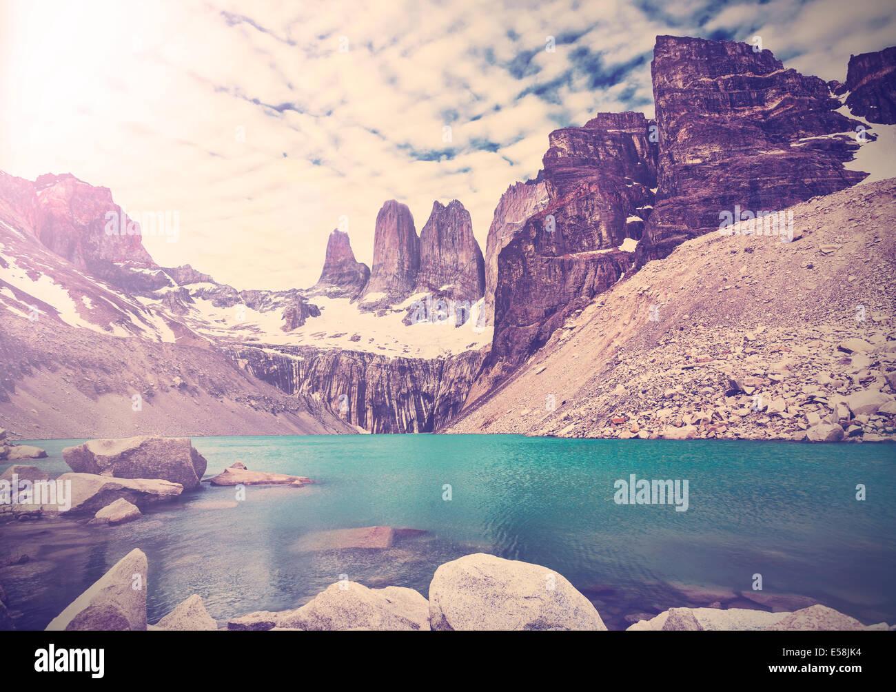 Vintage foto del Parque Nacional Torres del Paine, Patagonia, Chile Imagen De Stock