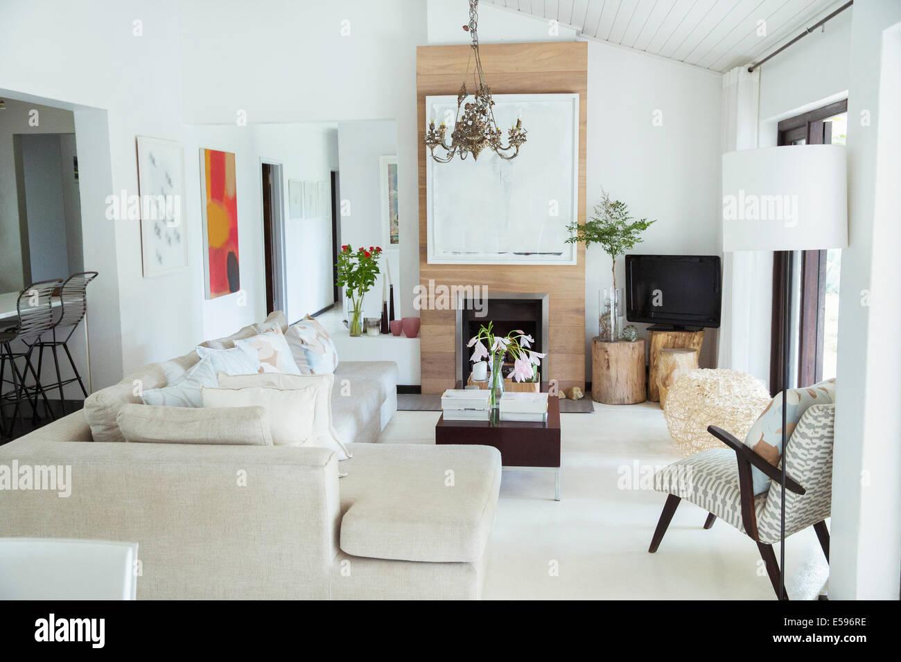 Sofá, mesa de café y chimenea en salón moderno Imagen De Stock