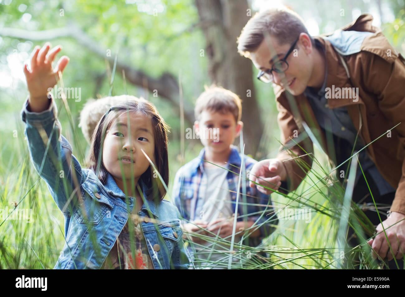 Los alumnos y el profesor examinando la hierba en el bosque Imagen De Stock