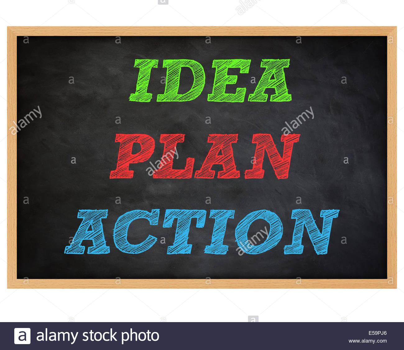 IDEA, PLAN DE ACCIÓN concepto manuscrita - Pizarra Imagen De Stock
