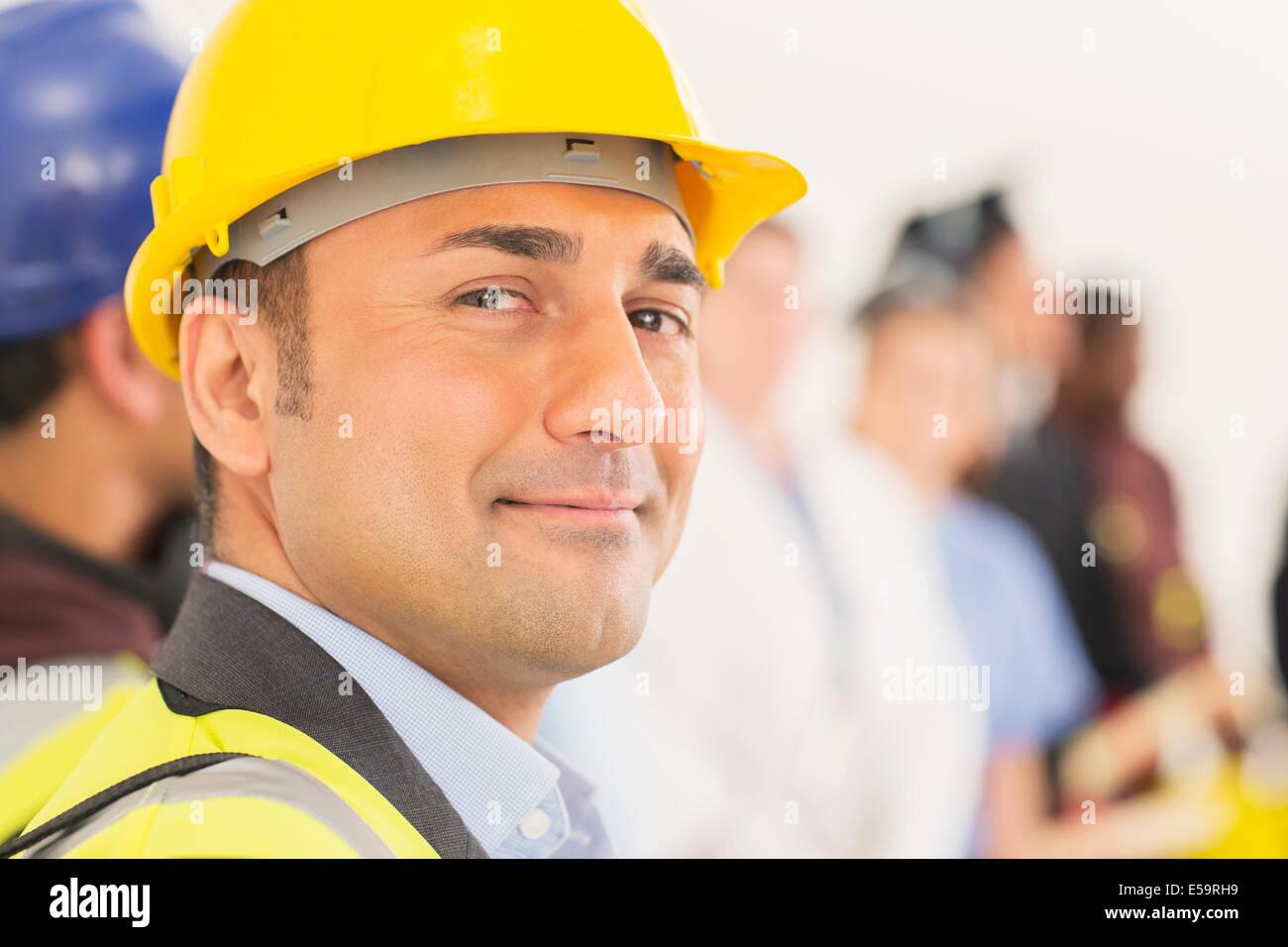 Retrato de seguros, trabajador de la construcción Foto de stock