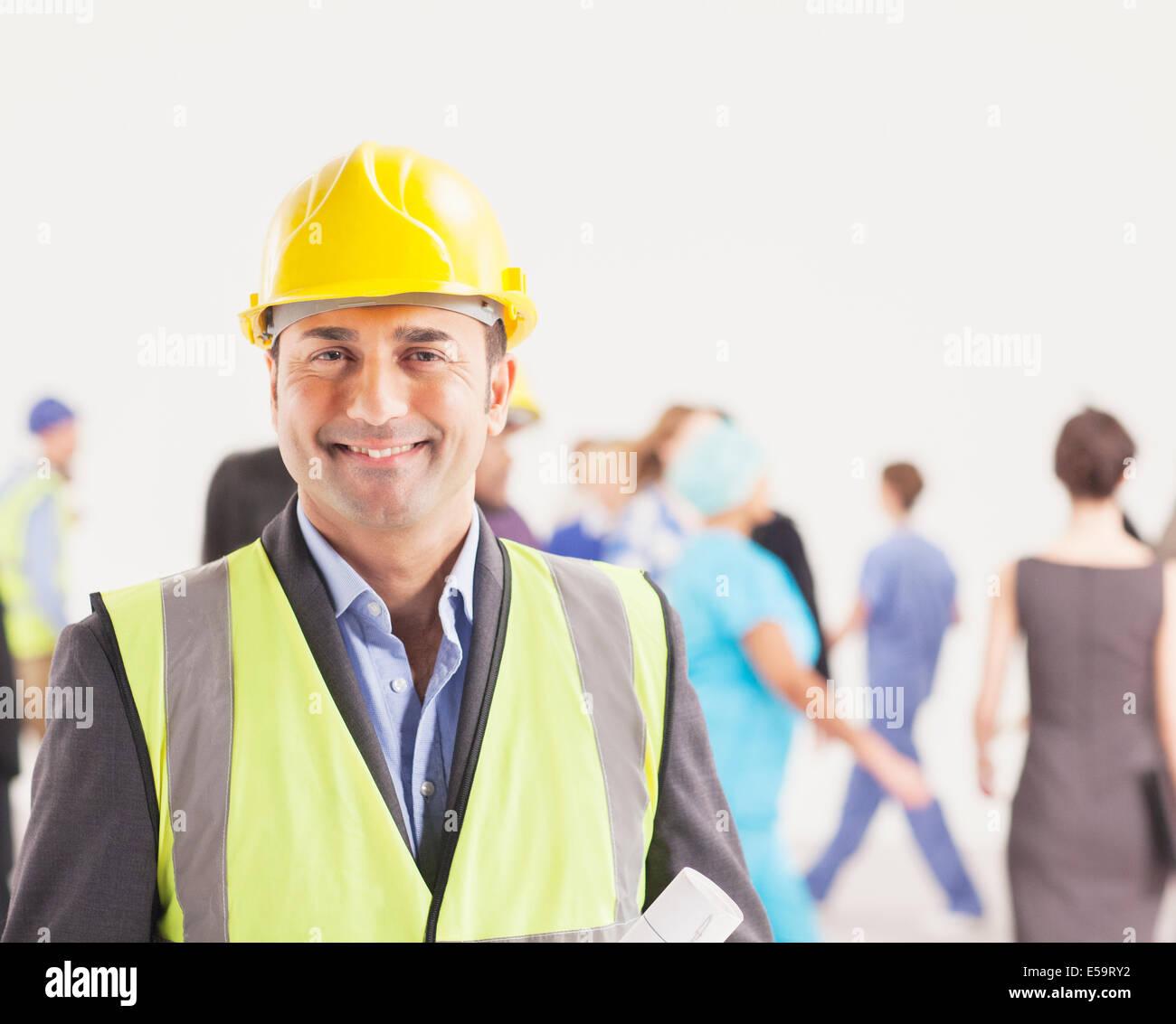 Retrato de seguros, trabajador de la construcción Imagen De Stock