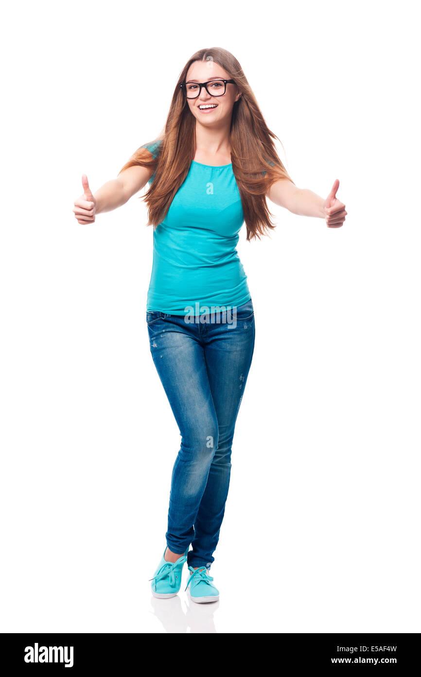 Mujer feliz mostrando el pulgar hacia arriba, Debica, Polonia Imagen De Stock