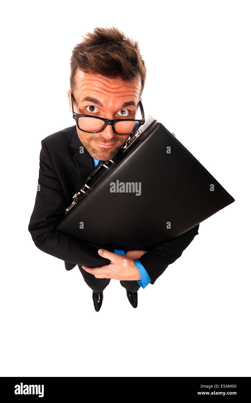 Astuto empresario exprimiendo el maletín Debica, Polonia Imagen De Stock