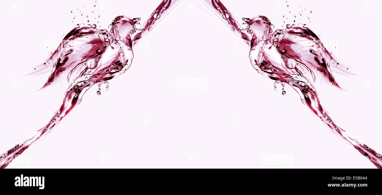 Dos pájaros de agua volando uno hacia el otro. Imagen De Stock