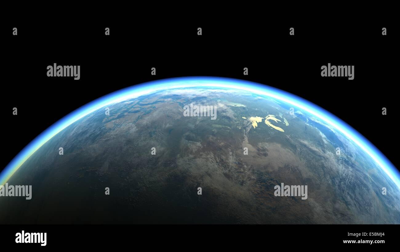 La canica azul - el planeta Tierra, el planeta de la vida. Ilustración 3d. Imagen De Stock