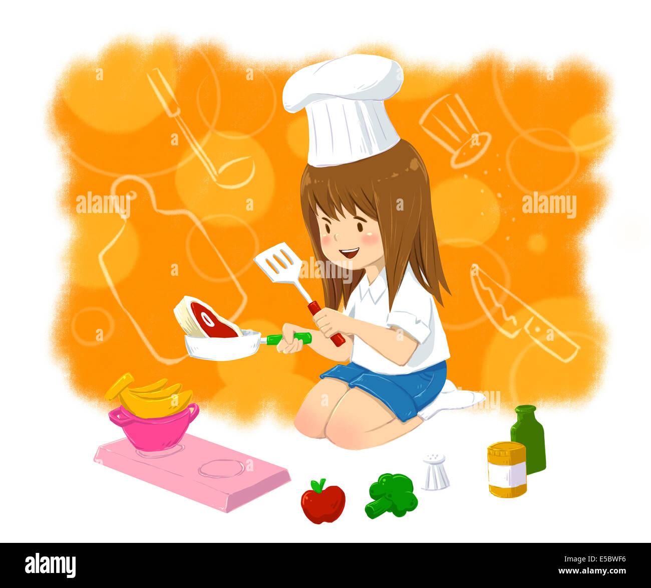 Imagen ilustrativa de la niña en el gorro de cocinero cocinando los alimentos que representan la aspiración Imagen De Stock