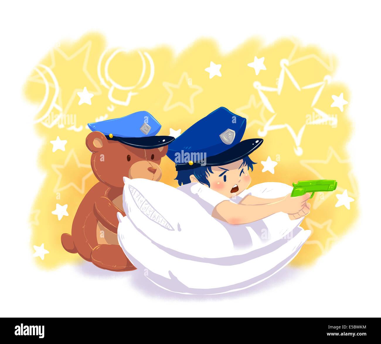 Imagen ilustrativa de muchacho en uniforme de policía apuntando con la pistola al oso de peluche que representa Imagen De Stock