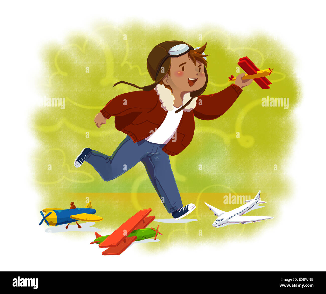 Imagen ilustrativa de niño volando avión de juguete que representa la aspiración Imagen De Stock