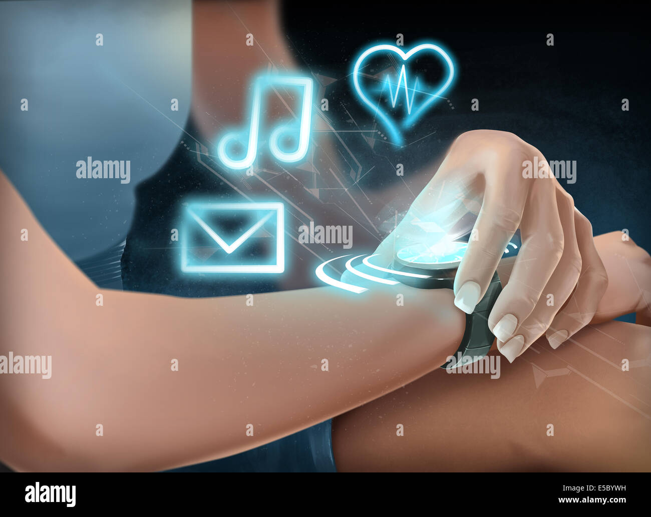 Ilustración de mujer vistiendo reloj futurista Imagen De Stock