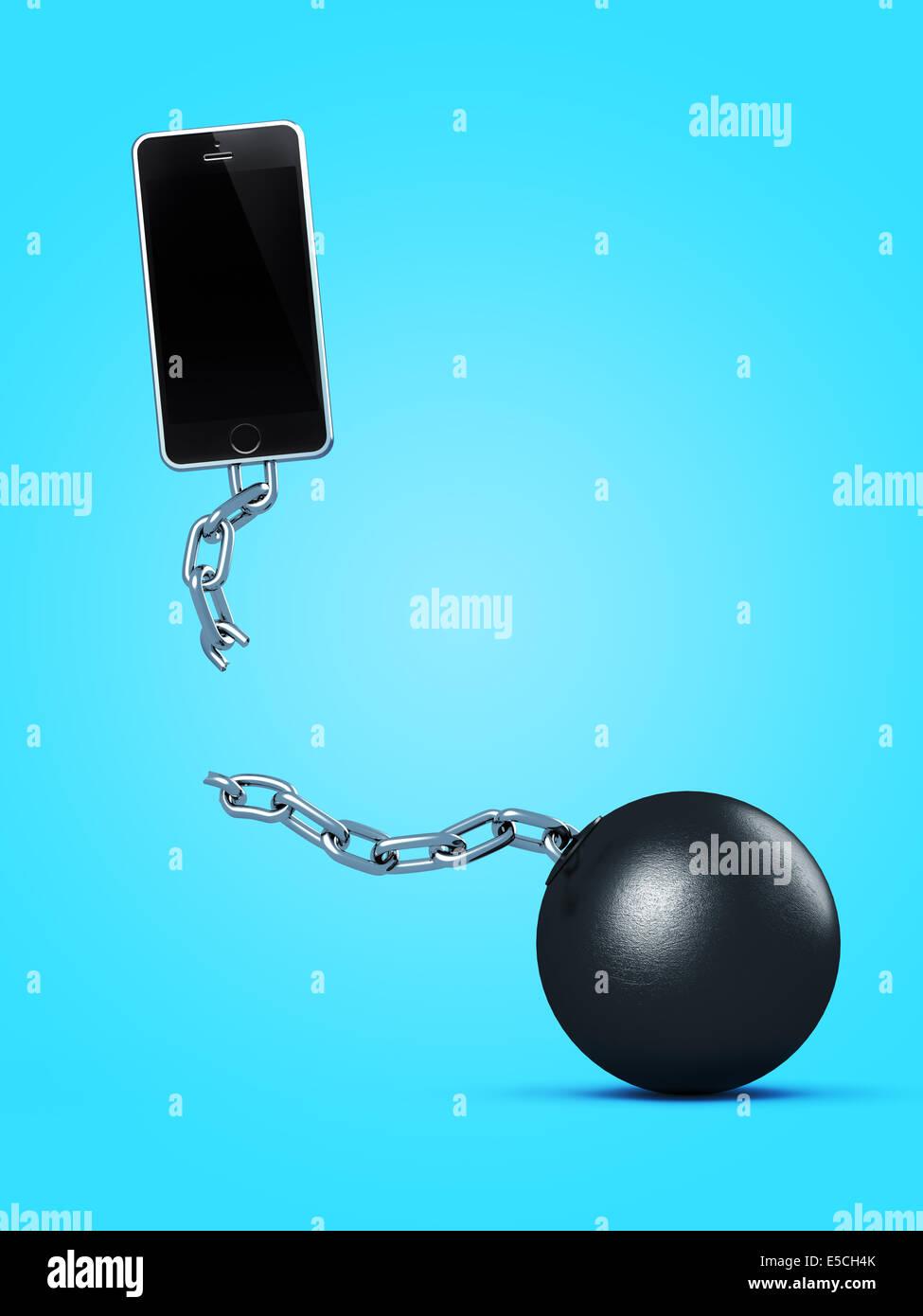 Teléfono romper con grilletes y cadenas, romper un contrato, el contrato de servicio gratuito, Ilustración Imagen De Stock