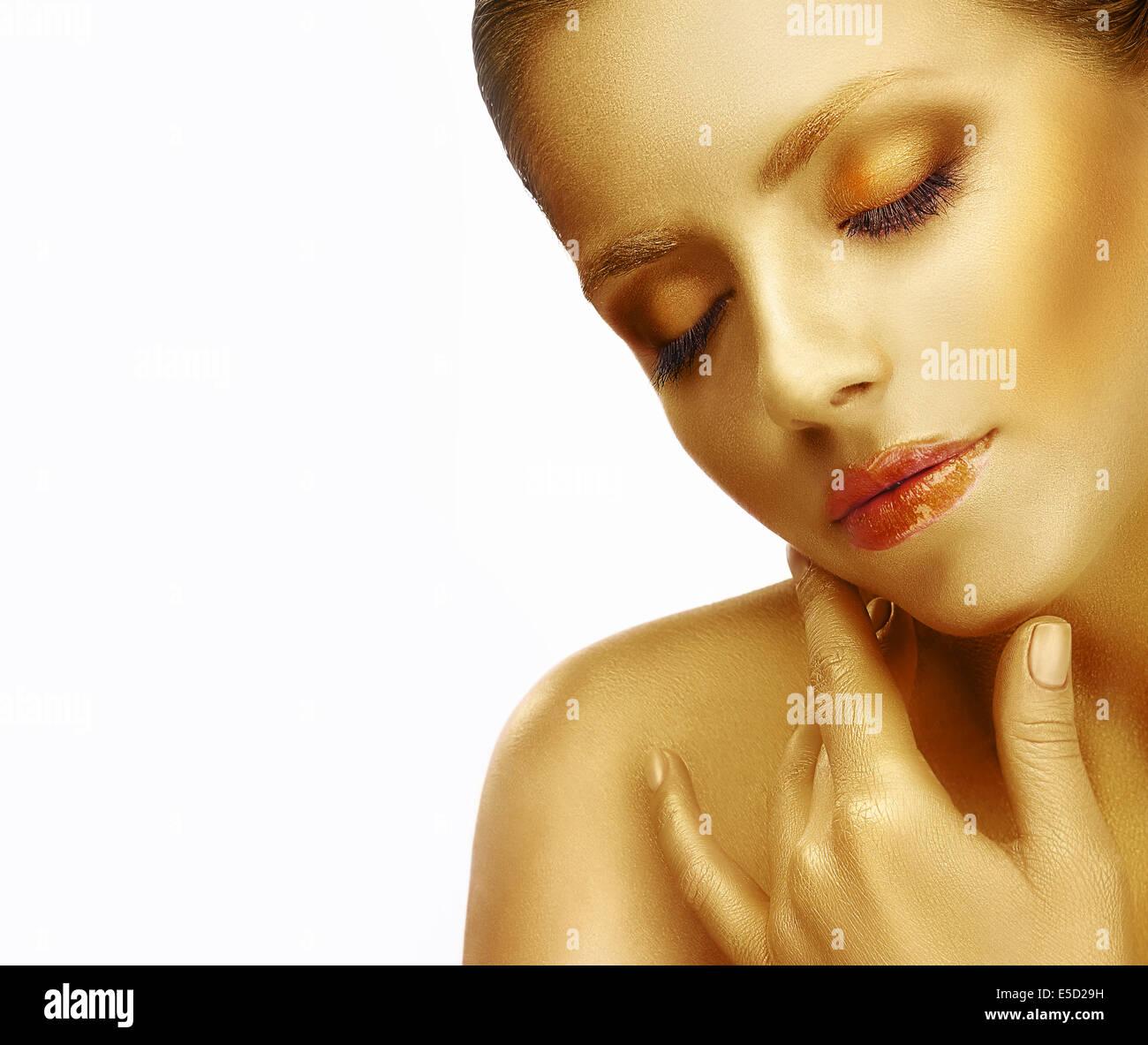 Los sueños. Close Up Retrato de mujer joven con piel de seda Imagen De Stock