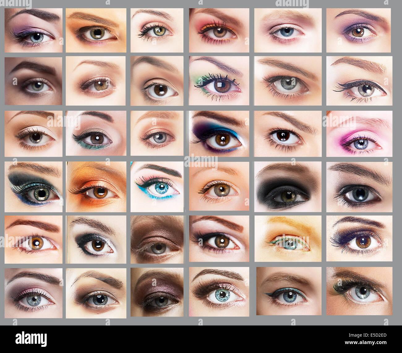 Mascara. Gran variedad de los ojos de la mujer. Conjunto de sombreador de ojos Imagen De Stock