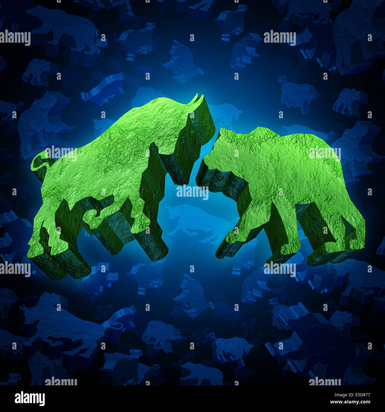 Bolsa invertir bull y bear símbolo como un grupo de tres dimensional trading iconos como un concepto de actividad Imagen De Stock