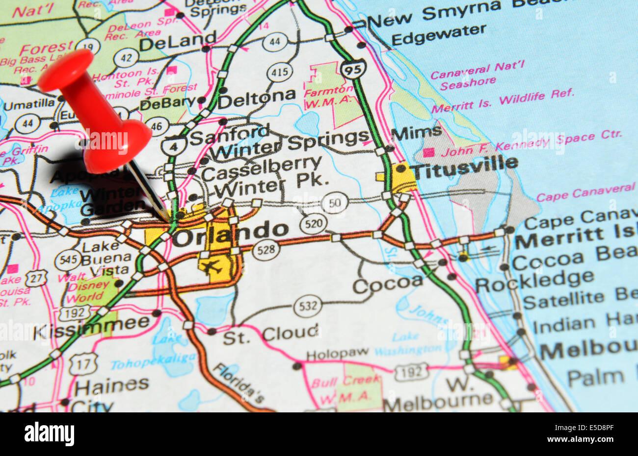 orlando sobre nosotros mapa fotografía de stock - alamy