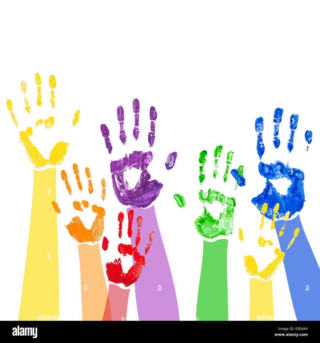 Resumen antecedentes con brillantes huellas de manos de pintura multicolor Foto de stock