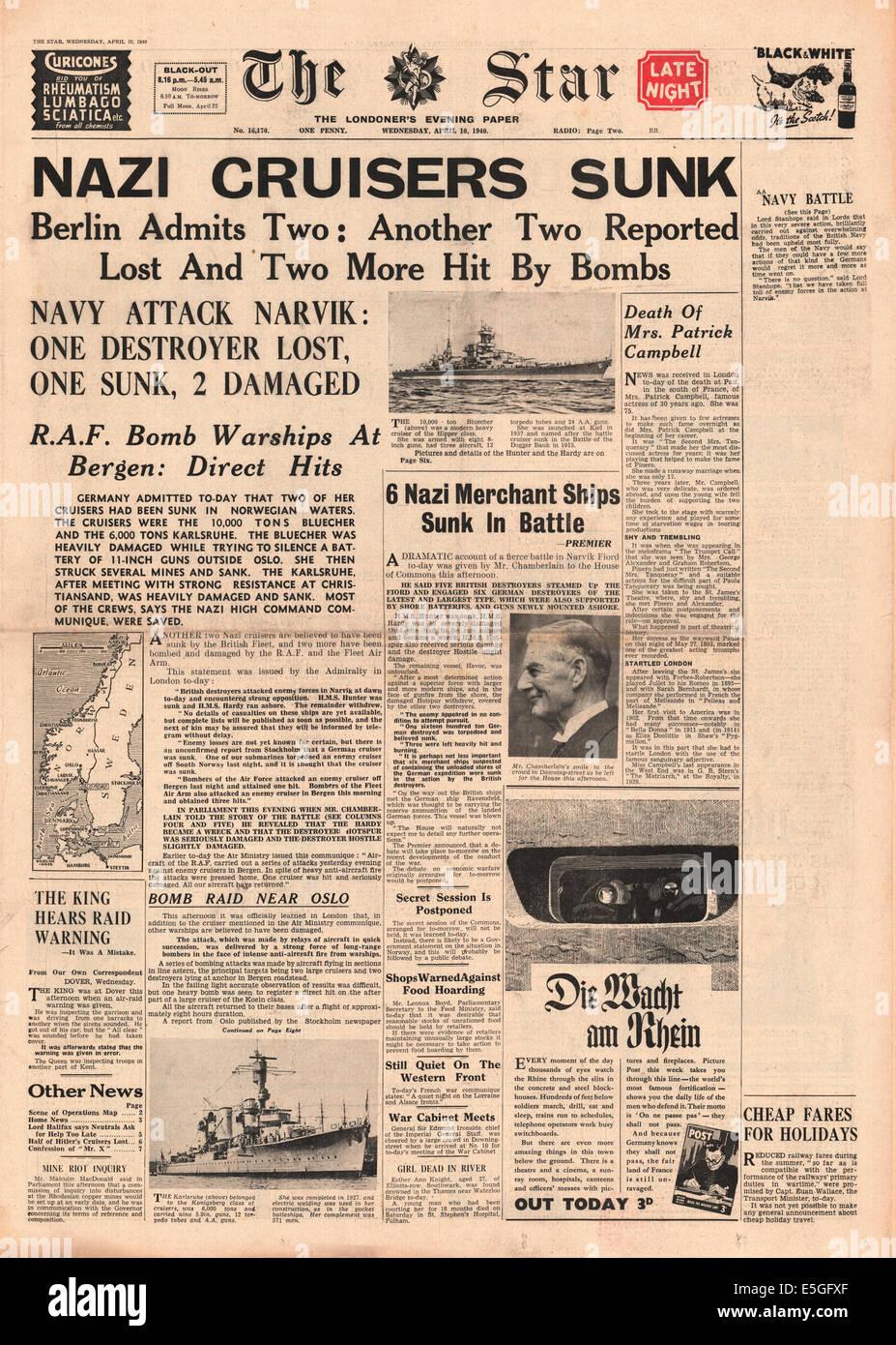 1940 La Estrella (Londres) página frontal informando del hundimiento de los cruceros y Karlsruhe Blucher alemán Foto de stock