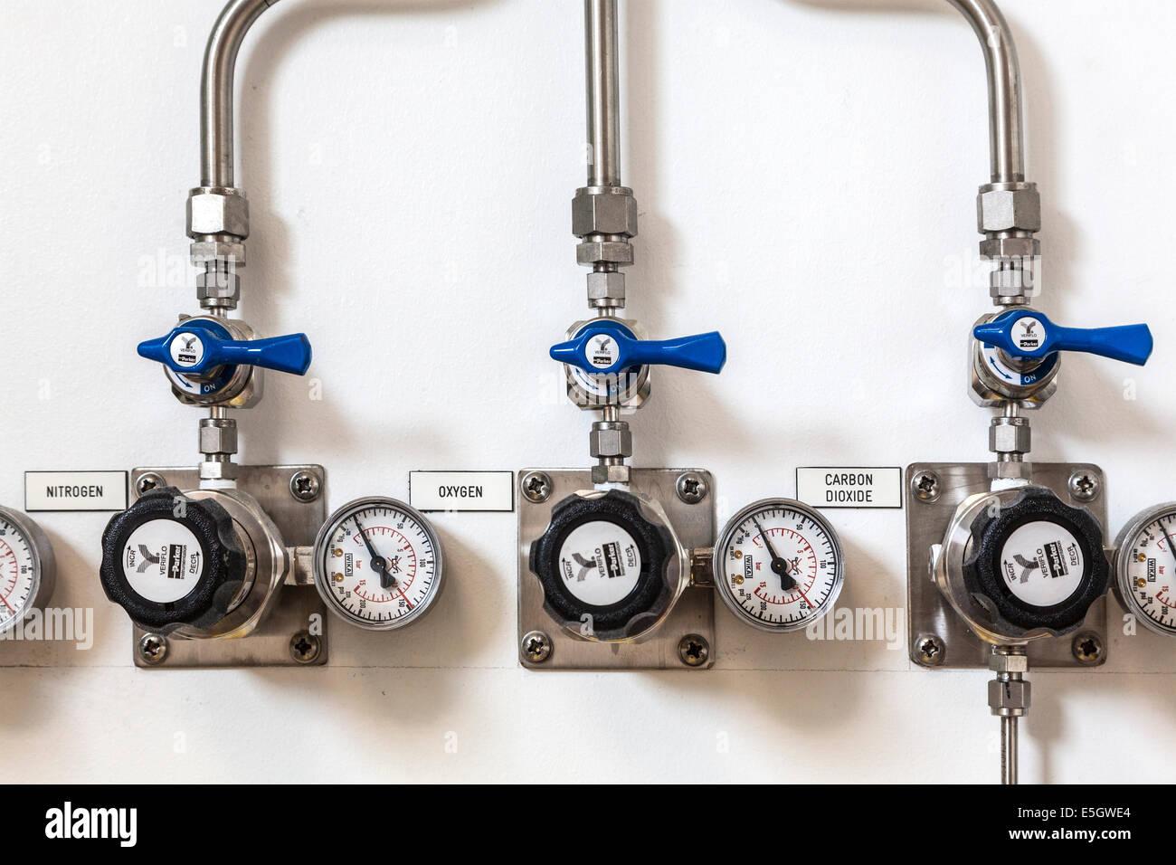 Tubos de alimentación de un laboratorio de investigación científica con los principales gases que Imagen De Stock