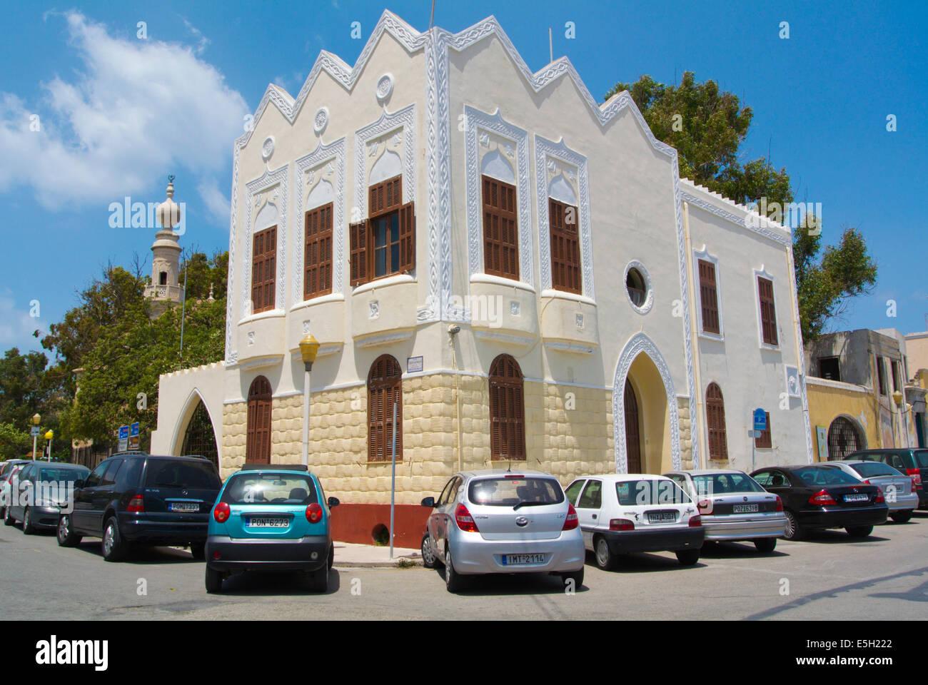 Arquitectura de la era italiano, la ciudad nueva, la ciudad de Rodas, la isla de Rodas, islas del Dodecaneso, Grecia, Imagen De Stock